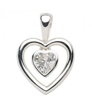 AN120282 Pendentif double coeur argent 925 zirconium