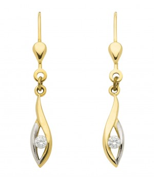 Boucles d'oreilles or massif 375 circonium solitaire OS159462