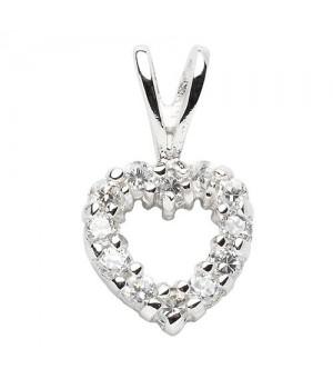 AN121119 Pendentif coeur argent massif 925 zirconium