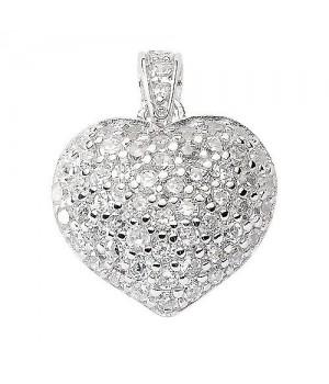 AN144459 Pendentif coeur argent incrusté de zirconium