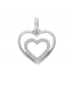AA052 Pendentif coeur en or blanc massif 375/1000