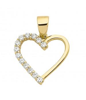 AA054 Pendentif coeur en or massif 375/1000