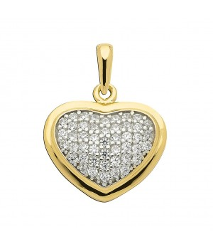 AA055 Pendentif coeur en or massif 375/1000