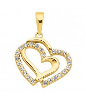 AA057 Pendentif double coeur en or massif 375/1000