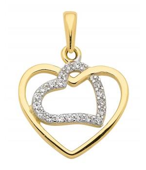 AA05 Pendentif double coeur en or massif 375/1000