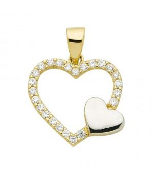 AA060 Pendentif double coeur en or massif 375/1000