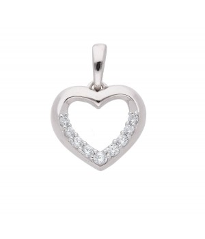 AA061 Pendentif coeur en or blanc massif 375/1000