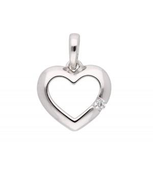 AA062 Pendentif coeur en or blanc massif 375/1000