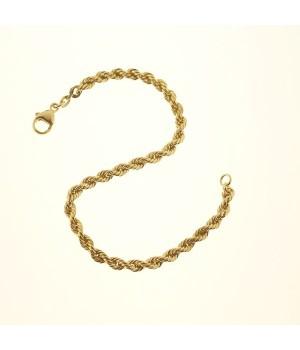 Bracelet or jaune 750 maille cordon 19cm