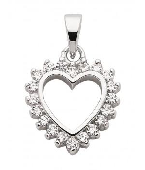 AN121128 Pendentif coeur argent 925 zirconium
