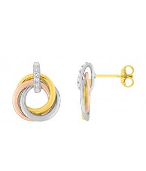 Boucles d'oreilles clous or massif 375 anneaux tricolores zirconiums