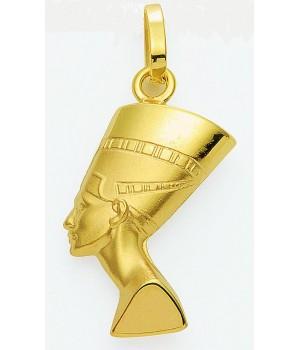 AA015 Pendentif buste de Néfertiti en or massif 375/1000