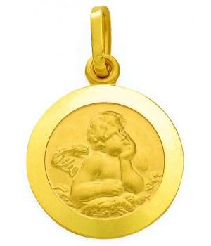 AA031 Pendentif rond bapteme ange gardien en or massif 375/1000