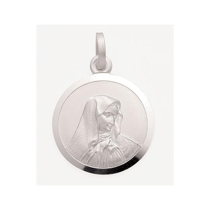 AOS032 Pendentif rond la Vierge argent massif 925 gravure gratuite au dos