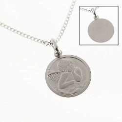 AOS031 Medaille de baptême pendentif Ange Gardien Argent 925