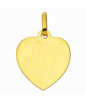 AA020 Pendentif coeur plaque à graver en or massif 585/1000