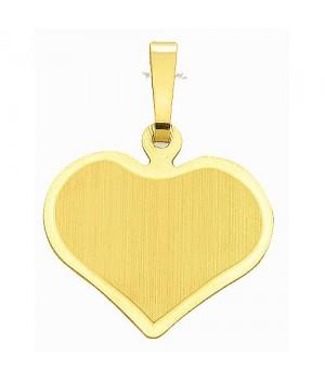 AA021 Pendentif coeur plaque à graver en or massif 585/1000