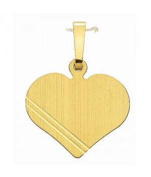 AA022 Pendentif coeur plaque à graver en or massif 585/1000
