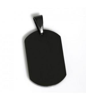 AS040 Pendentif plaque Dogtag en acier noir gravure gratuite