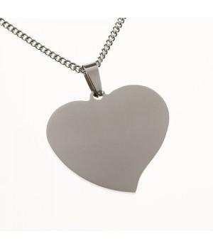 AS014 Pendentif cœur en acier inox gravure gratuite