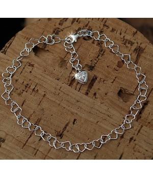 FK001 chaine cheville arg 925 maille coeur 25cm diamant cz