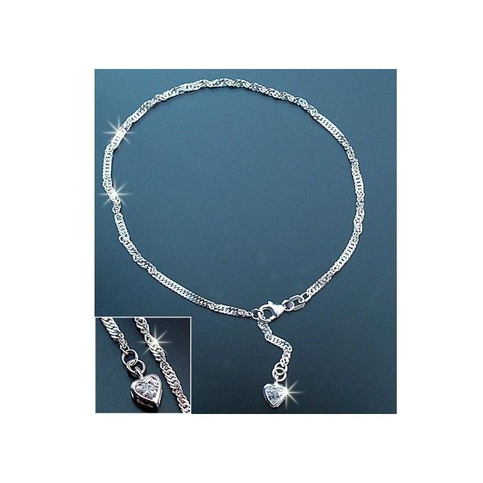 FK016 chaine cheville argent 925 singapour 25cm diamant