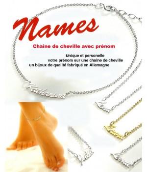 NF002 chaine de cheville prenom or vermeil