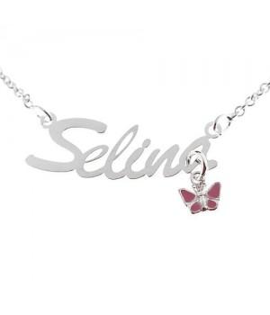 NK005 Collier Prenom argent 925 pendentif papillon