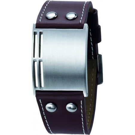 Bracelet homme en cuir et acier Leo Marco gravure gratuite LM903
