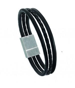 Bracelet homme en cuir et acier Leo Marco LM1008