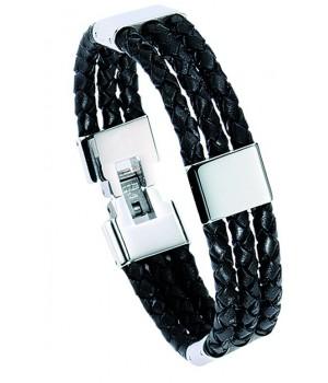Bracelet homme en cuir et acier Leo Marco LM883