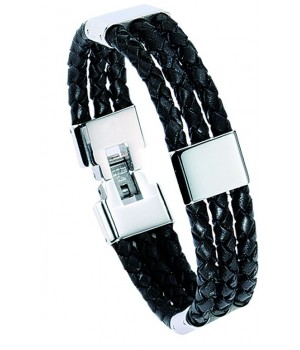 Bracelet homme en cuir et...