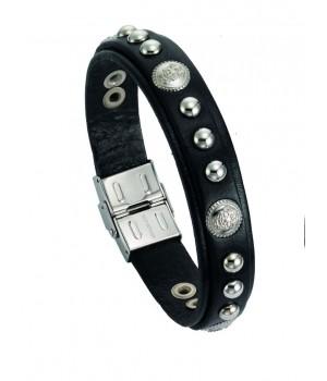 Bracelet homme en cuir  et acier Leo Marco LM1007