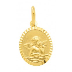 AA123 Medaille de baptême pendentif Ange Gardien Or 375