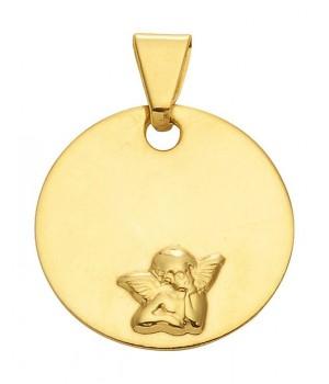 AA124 Medaille de baptême pendentif Ange Gardien Or 375