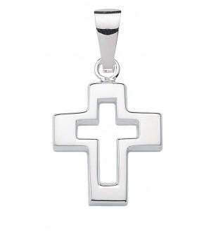 AOS190 Pendentif croix chrétienne en argent massif 925/1000