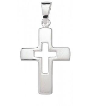 AOS194 Pendentif croix chrétienne en argent massif 925/1000
