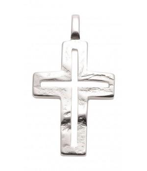 AOS196 Pendentif croix chrétienne en argent massif 925/1000