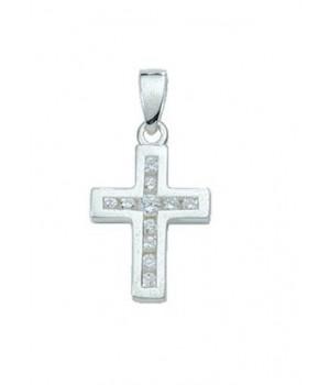 AOS200 Pendentif croix chrétienne en argent massif 925/1000 Circoniums