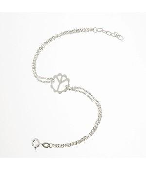 Bracelet or blanc 750 maille forçat signe de paix 19cm