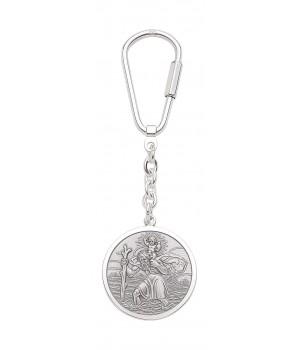 Porte clé argent massif 925 Saint Christophe