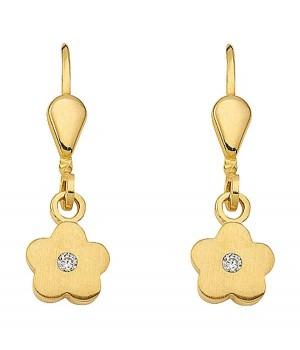 Boucles d'oreilles or massif 375 fleur OS 133072