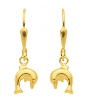 Boucles d'oreilles or massif 375 dauphins OS 82795