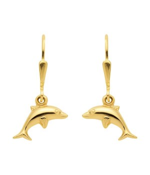 Boucles d'oreilles or massif 375 dauphins OS 60045