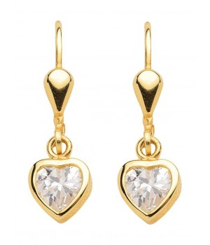 Boucles d'oreilles or massif 375 coeurs zirconias OS 117418